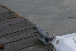 Bobstay damage on the dock