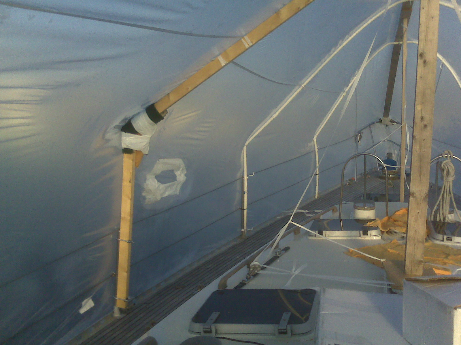 living under shrink wrap living aboard a sailboat during a