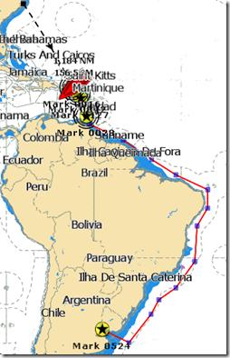 Chart N Carolina to Argentina